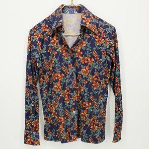 Vintage Orange Floral Button Up Hawaiian Shirt